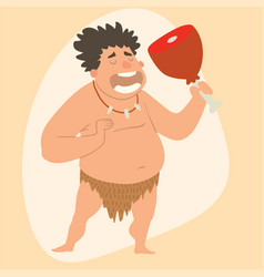 caveman primitive stone age man cartoon vector image