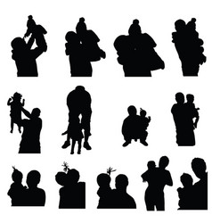 Child silhouette with mom and dad set vector