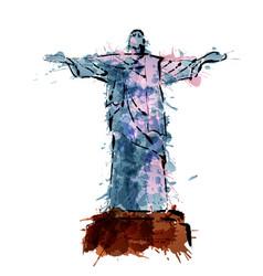 Christ the redeemer statue in rio de janeiro vector