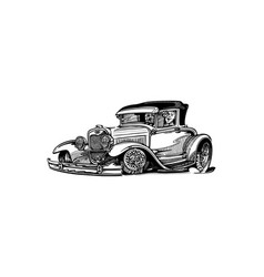 Classic retro hot-rod cars isolated on vector
