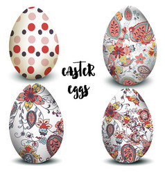 Collection easter eggs decorated swirls vector