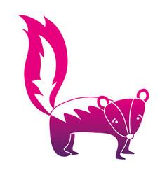 Color silhouette cute and sad skunk wild animal vector
