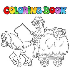 Coloring book with cart and farmer vector