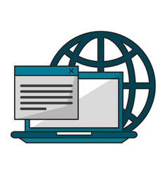 computer with documents and globe vector image