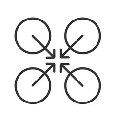 cooperative symbol linear icon vector image