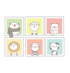 cute baanimals with window cartoon hand drawn vector image