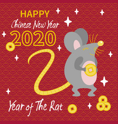 cute gray rat with gold coin vector image