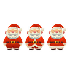 cute santa claus set of cartoon holiday symbols in vector image