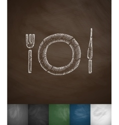 cutlery icon Hand drawn vector image