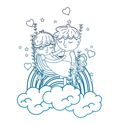 Degraded outline boy carrying girl in the clouds vector