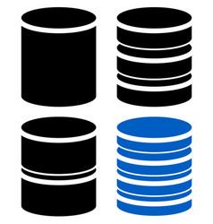 different barrel cylinder shape symbol icon set vector image