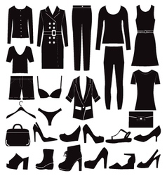 Different set of woman clothes and accessories vector
