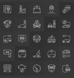 Electric vehicle icons ev or electric car vector