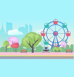 entertainment park cartoon flat landscape vector image