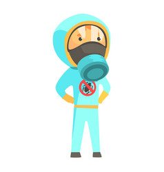 Exterminator in blue protection uniform pest vector