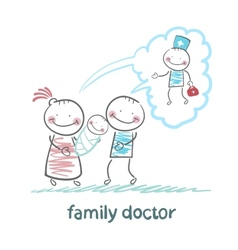 Family thinks about the family doctor vector
