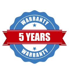 Five years warranty seal - round stamp vector