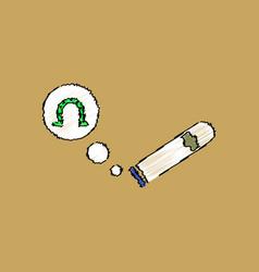Flat shading style icon cigar and horseshoe vector