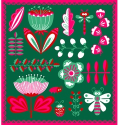 Floral decorative design elements set with bugs a vector