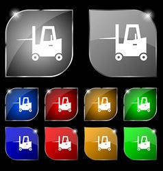 Forklift icon sign Set of ten colorful buttons vector