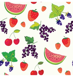 Fruits and berry funny seamless vector image