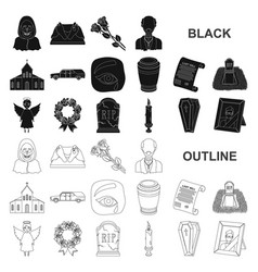 funeral ceremony black icons in set collection for vector image