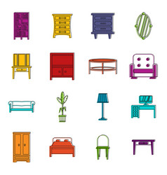 furniture icons doodle set vector image