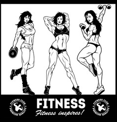 Girls with dumbbells - beautiful fitness girls vector