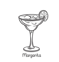 Glass of margarita vector