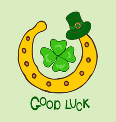 good luck st patrick s day holiday greeting card vector image