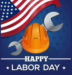 greeting card for the labor day with american flag vector image