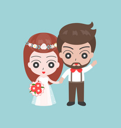 groom and bride holding hands cute character for vector image