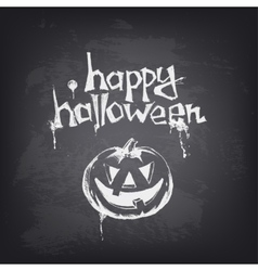 Halloween text design with pumpkin on chalkboard vector image