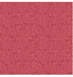 Hand drawn heart pattern seamless on red vector