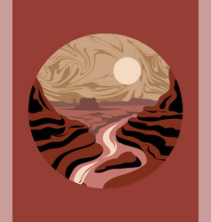 hand drawn landscape desert isolated vector image