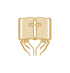 Hands hold an open bible and a cross vector