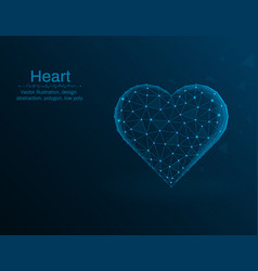 heart symbol love polygon icon on blue vector image