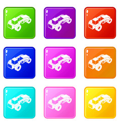 Heavy load truck icons set 9 color collection vector