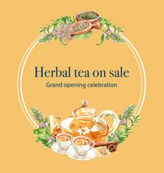 Herbal tea wreath design with leaf thyme melissa vector