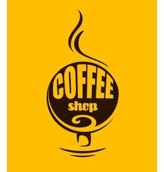 Hot steaming coffee banner vector image