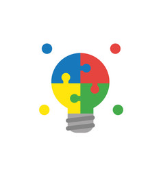 icon concept of light bulb puzzle pieces vector image