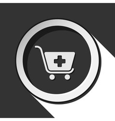 Icon - shopping cart plus with shadow vector