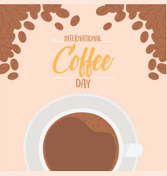 International day coffee top view cup seeds vector