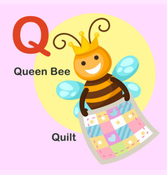 Isolated animal alphabet letter q-quilt queen bee vector