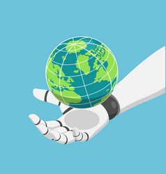 isometric robot hand holding world or planet vector image