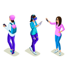isometrics young people teenagers stylish clothe vector image