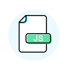 Js file format extension color line icon vector