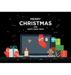 Laptop with gifts candles red ball and Christmas vector image