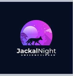 Logo jackal night silhouette style vector
