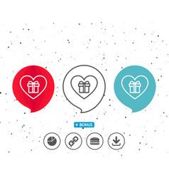 love gift box line icon present sign vector image